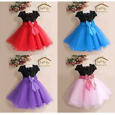 Princess Full Dress Skirt Children Flower Girl Short Sleeve Small Host Kids 2-7T