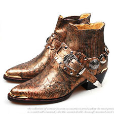 New Collection1050 Real Leather Cowboy Western Mens Womans Boots Snake Skin Gold