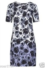 New Ladies Ex M&S Grey Ombre Floral Dress Short Sleeve Size 10 - 18