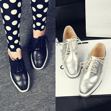 US4-11 Stylish Womens Wing-Tip Lace-Up Leisure Platform Shoes Oxford Brogue NEW