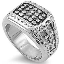 Stainless Steel Black Oxidized Biker Tribal Stamp Right Hand Ring Sizes 9-17