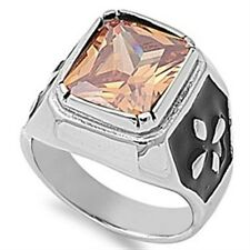 Stainless Steel Princess Cut Champagne CZ Cross Elegant Wide Band Ring Size 8-14