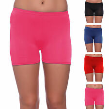 LADIES GIRLS NEON LYCRA STRETCHY SEXY HOT PANTS SHORTS DANCE GYM PARTY