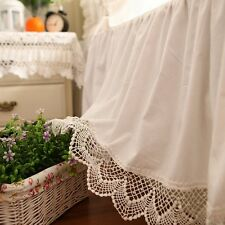 Shabby and Victorian Style White Wide Lace Cotton Bed Skirt 1117
