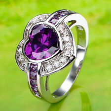 Heart Amethyst & White Topaz Gemstone Silver Jewelry Fashion Ring Size 7 8 9 10