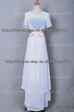 Titanic Rose White Dress Costume Chiffon Gown Suit pink bowknot belt Halloween
