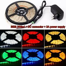 5M Waterproof 3528 5050 SMD 300 LED Strip Rope Lights + DC Connector + 12V Power