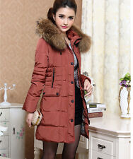 2014 Womens Korea Plus Size Flim Fit Fur Collar Belted Puffer Jacket Down Coat
