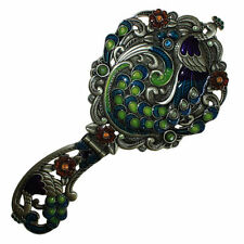 Dressing Table Hand Mirrors pretty ornate metal with enamel gift for girl / mum