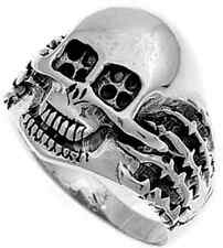 New 925 Sterling Silver Iron Cross Eyes Scary Skull Biker Tribal Ring Size 5-16