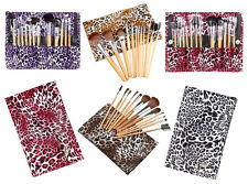 12pcs Animal Print Wooden-Handle Black Hair Makeup Cosmetic Brush Set with Case
