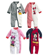 Baby Boy Girl Mickey/Minnie Clothes Striped Long Sleeve Romper Jumpsuit Bodysuit