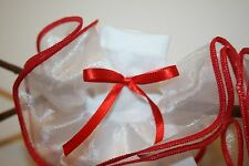 Girls White Nylon and Organza Ruffle Bobby Socks Trimmed in Red with Bow