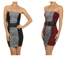 Sexy Solid Two Tone Sweetheart Neck Strapless Ruched Bodycon Belted Mini Dress