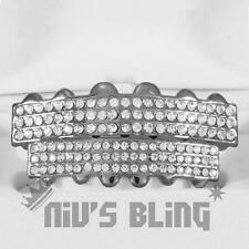 Iced Out Gunmetal GRILLZ 6 Rows of CZ Bling Tooth Mouth Teeth Caps HipHop Grills