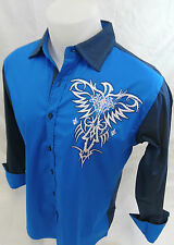 Mens Victorious Cross Stone Button Down Dress Shirt Royal Blue Roar With Style