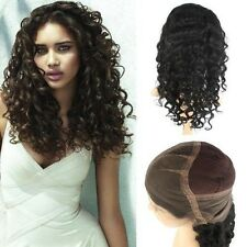"14""-24""  Full Lace Wig 100% Indian Remy Human Deep Curly 1b# Natural Black"