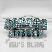 Iced Out Gunmetal GRILLZ TEAL CZ Blue Aqua Tooth Mouth Teeth Caps Hip Hop Grills