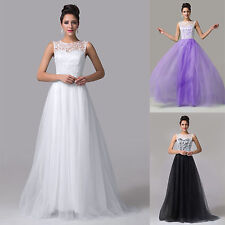 Women LACE Vintage Long Formal Evening Party Bridesmaid Prom Dress Wedding Gowns