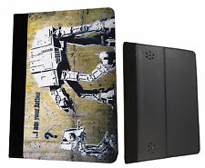 Banksy Art Star Wars Robot Kindle Fire Hd 7'' HDX 7'' Case Leather Flip cover