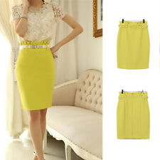 Women's Slim Fit Knee Length Pencil Skirt High Waist Office Career Bodycon Dress