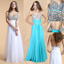 Rhinestone Long Evening Dress FOR XMAS Party Formal Gown Bridesmaid Prom Dresses