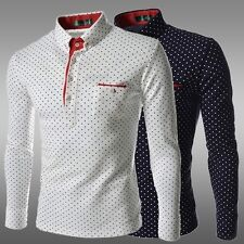 NEW TOP Mens Stylish Slim Fit Casual fashion T-shirts Polo Shirt long sleeve