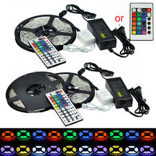 KIT! 5 10M 3528 5050 SMD RGB Flexible 600/300 LED Light Strip + Remote + Power