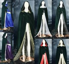 New Christmas Dark Green Hooded velvet Cloak/Cape/Coat Shawl Costume Stock