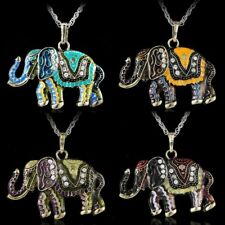 Hot Cute Elephant Retro Crystal Colorful Fashion Sweater Chain Pendant Necklace