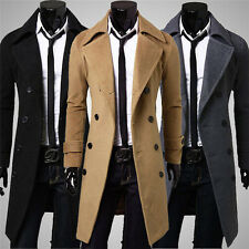 Double Breasted Men's Trench Coats Winter Long Jacket  Hoody Fleece Fur Sweat #K