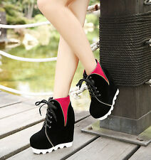 Cool Metal Chain Ankle Wedge Block High Heel Sexy Boots