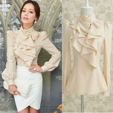 New Women Victorian Ruffle Collar Blouse Puff Sleeve Silky Luxurious Top Shirt