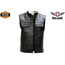 Mens Concealed Carry Leather Club & Biker Vest with Zipper and Snaps