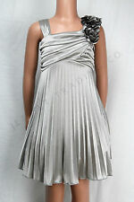 NEW FORMAL SILVER SILKY FANCY GIRLS DRESS CHILDRENS CLOTHING SIZES 3/4 TO 14