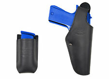 New Barsony Black Leather Belt OWB Holster + Mag Pouch Colt Full Size 9mm 40 45