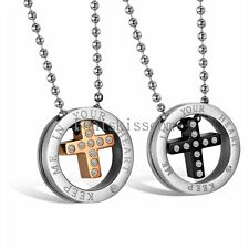 Keep Me In Your Heart Fashion Stainless Steel Circle Cross Pendant Necklace