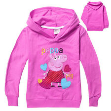 New 2-8T Kids Girls Peppa Pig Cotton Autumn Sweet All-match Pullover Hoodies
