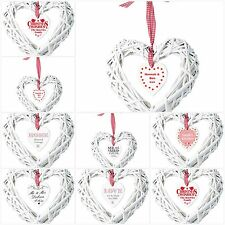 Personalised Wicker Heart Decoration New Home Wedding Anniversary Unique Gift