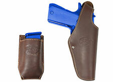 New Barsony Brown Leather OWB Holster + Mag Pouch Smith&Wesson Full Size 9mm 40