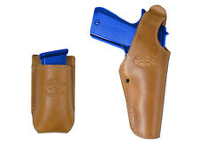 New Barsony Tan Leather OWB Holster + Mag Pouch Springfield Full Size 9mm 40 45