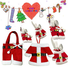 SANTA SUIT CHRISTMAS CUTLERY HOLDERS TABLE DECORATION PLACE SETTING XMAS GIFT UK