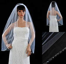 White 1T Fingertip Length Beaded Sequin Edged Wedding Bridal Veil with Comb