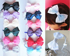 New Girls Sheer Satin Ribbon Bow Alice Band Headband Hairband Hair Accessories