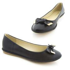 Ladies Womens Brass Tie Bow Black Flats Ballerina Pumps Casual Party Shoes
