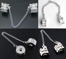 1X Silver Plated Stopper Safety Chain Bead Fit European Charm Bracelet
