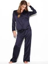 Ann Summers Womens Navy Blue Satin Pyjama Set Sexy Loungewear Nightwear