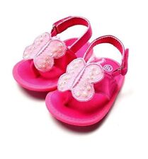 New ZARA BABY Soft Sole Baby Girl Pink Butterfly Thong Crib Shoes. Age 0-18 Mth