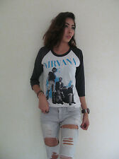NIRVANA Kurt Cobain Group Photo Raglan Women's T-Shirt White Graphic Tee Bunny