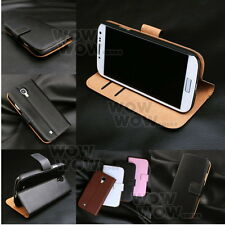 Wallet Stand 2 Card Genuine Leather Flip Cover Case For Samsung Galaxy Model
